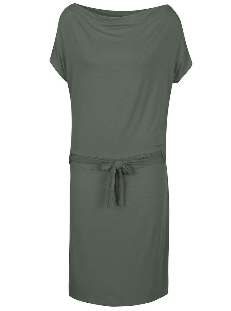 Rochie verde camuflaj ZOOT cu cordon in talie