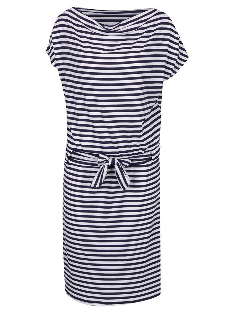 Modro-bílé pruhované šaty s lodičkovým výstřihem ZOOT