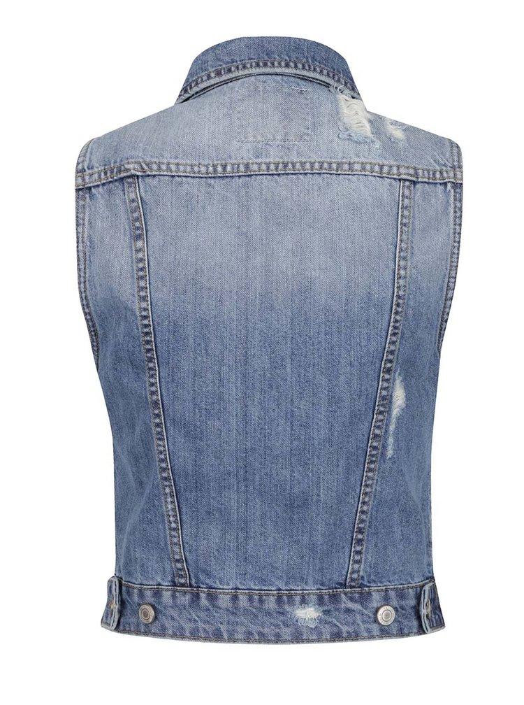 Světle modrá džínová vesta s barevnými odznaky TALLY WEiJL
