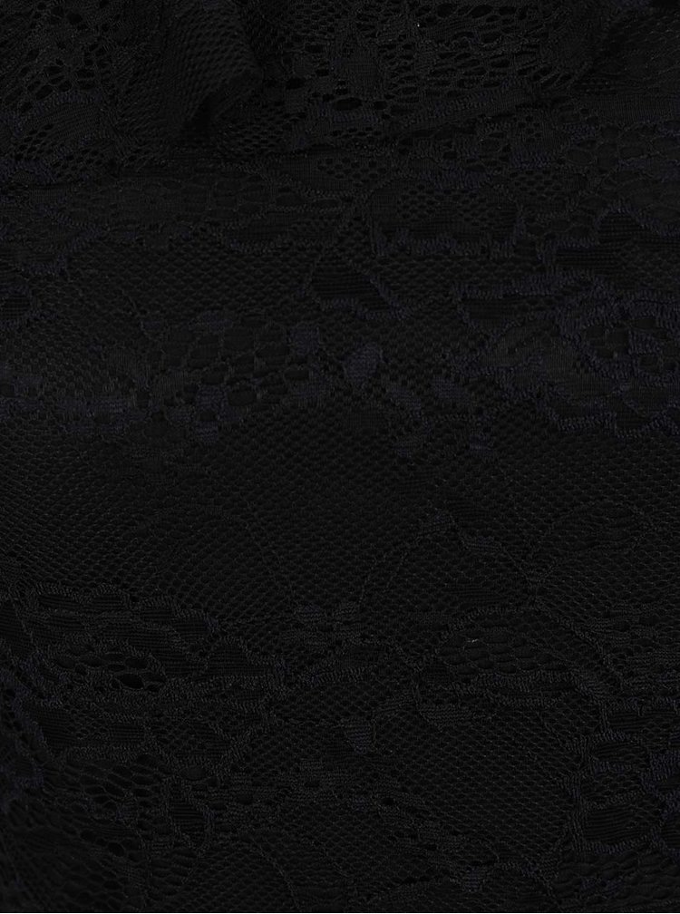 Top negru TALLY WEiJL din dantelă cu volan decorativ