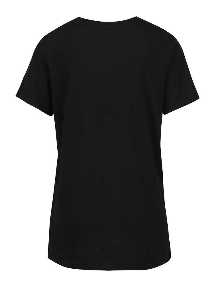 Tricou negru TALLY WEiJL cu print și croi lejer