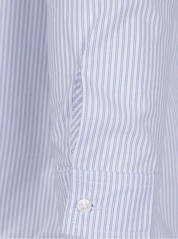 Camasa albastru & alb TALLY WEiJL cu decupaje, model in dungi si volan decorativ