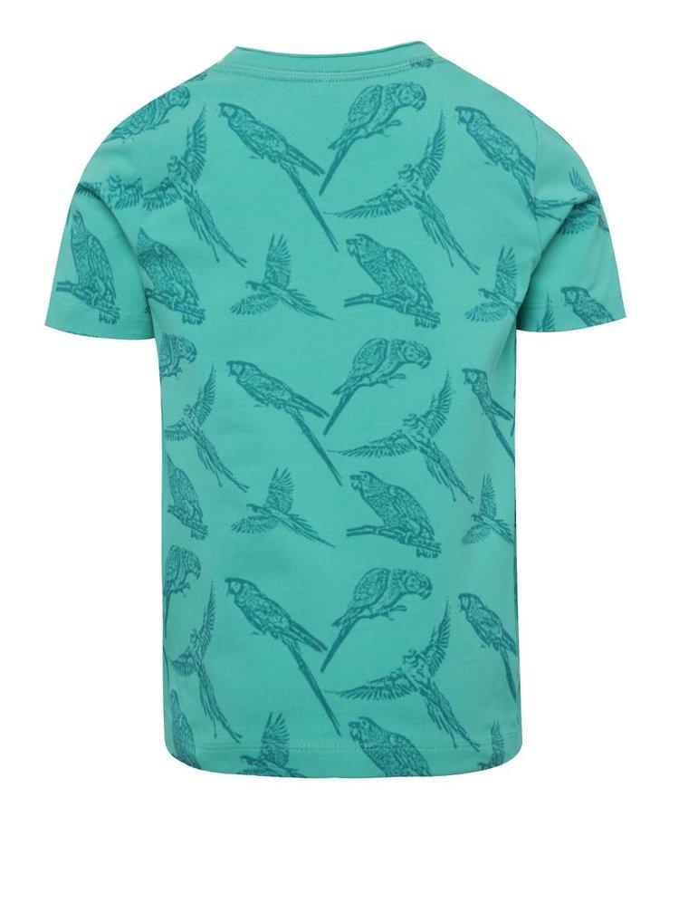 Zelené klučičí triko s potiskem papoušků name it Josman