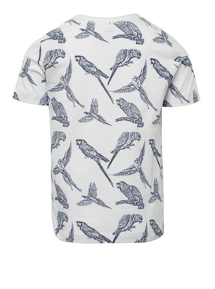 Bílé klučičí triko s potiskem papoušků name it Josman