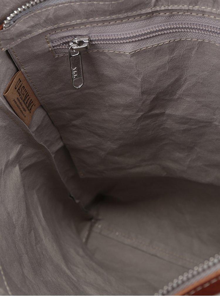 Geantă gri UASHMAMA® Otti cu mânere din piele