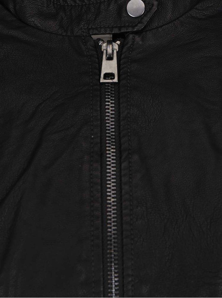 Černá koženková bunda VERO MODA Mira