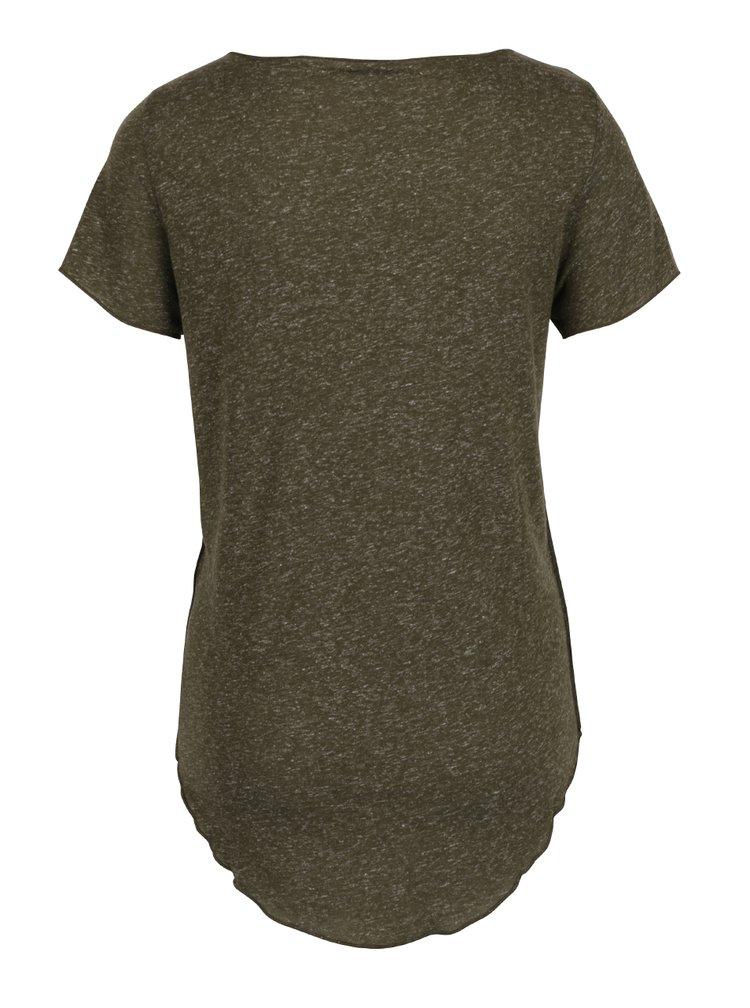Khaki žíhané tričko s prodlouženou délkou VERO MODA Lua