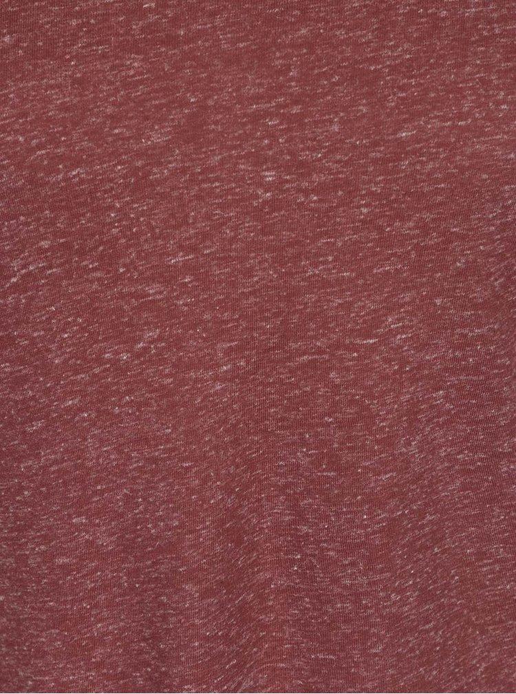 Tehlové melírované tričko s dlhým rukávom VERO MODA Lua