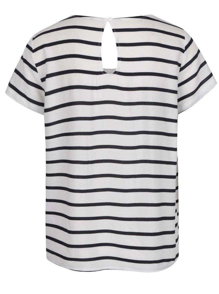 Tricou alb&negru ONLY First cu model în dungi