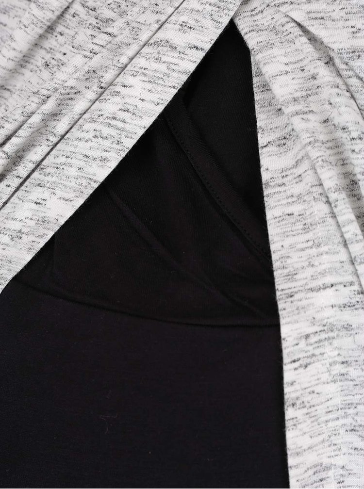 Černo-šedé těhotenské/kojicí tričko s překládaným předním dílem Mama.licious Tacey