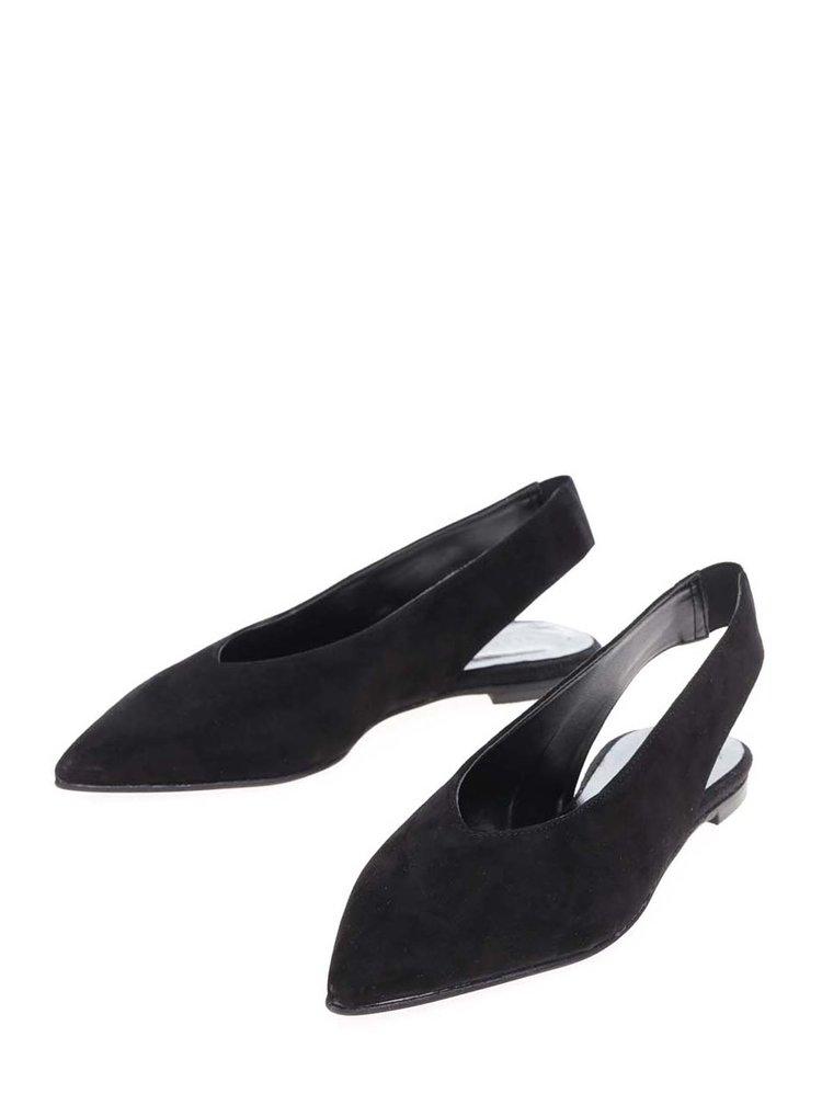 Černé semišové baleríny s otevřenou patou Pieces Nashira
