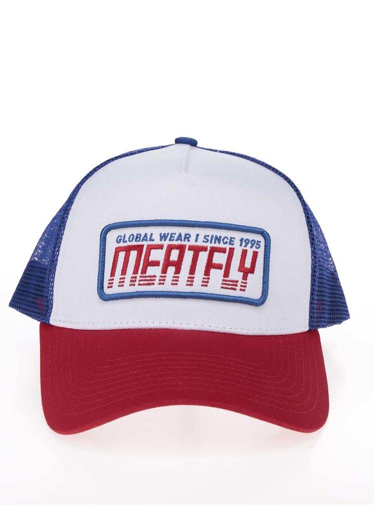 Șapcă alb & roșu & albastru MEATFLY Garage cu broderie pentru bărbați