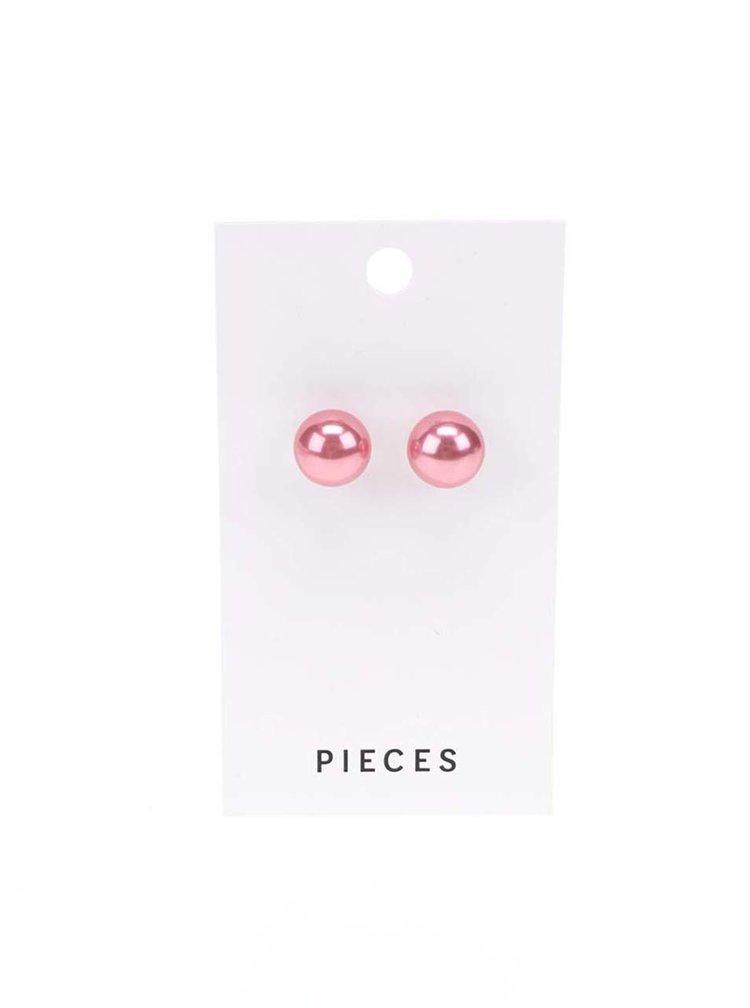 Růžové náušnice Pieces Hogan