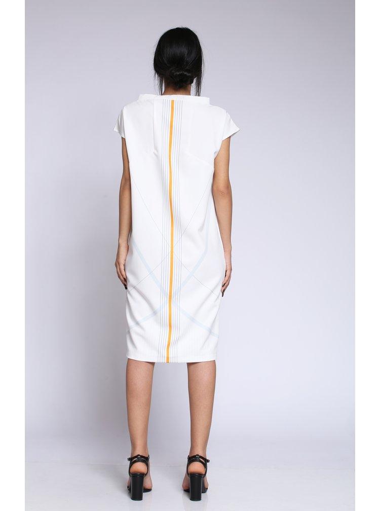 Bílé šaty s potiskem a kapsami Laura Dumitrescu Fortunate Magpie