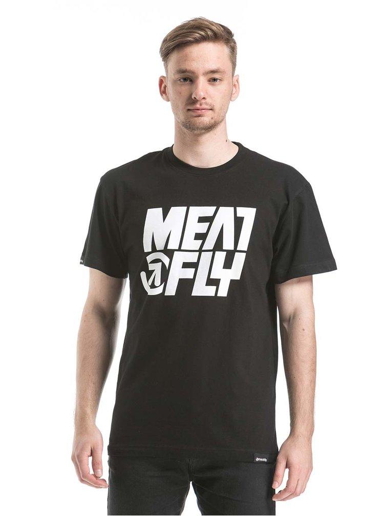 Černé pánské triko s potiskem MEATFLY Shaper
