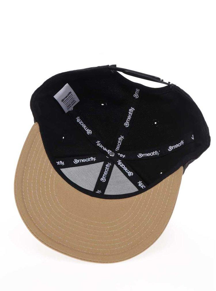 Černá pánská kšiltovka s hnědým kšiltem Meatfly Exchange