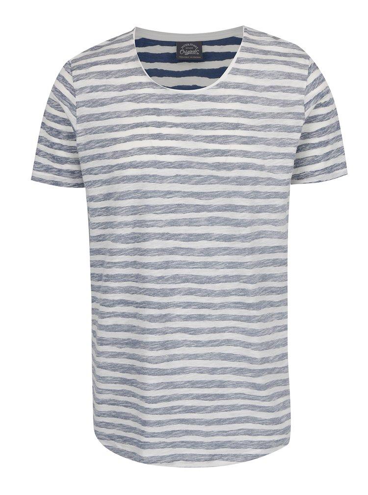 Tricou alb & bleumarin Jack & Jones Reverse cu model in dungi
