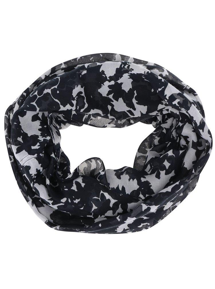 Šedo-černý dutý vzorovaný šátek Pieces Kite