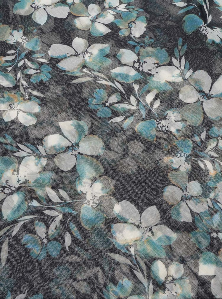 Eșarfă circulară bleumarin Pieces Kellea cu model floral