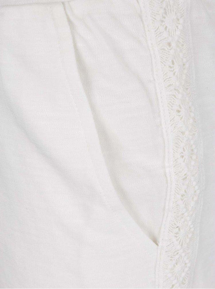 Pantaloni scurti albi VILA Jason cu detalii brodate