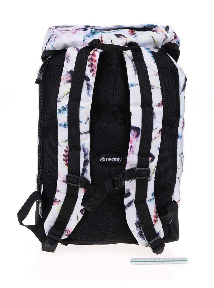 Černo-bílý dámský batoh s motivem pírek Meatfly Pioneer 26 l