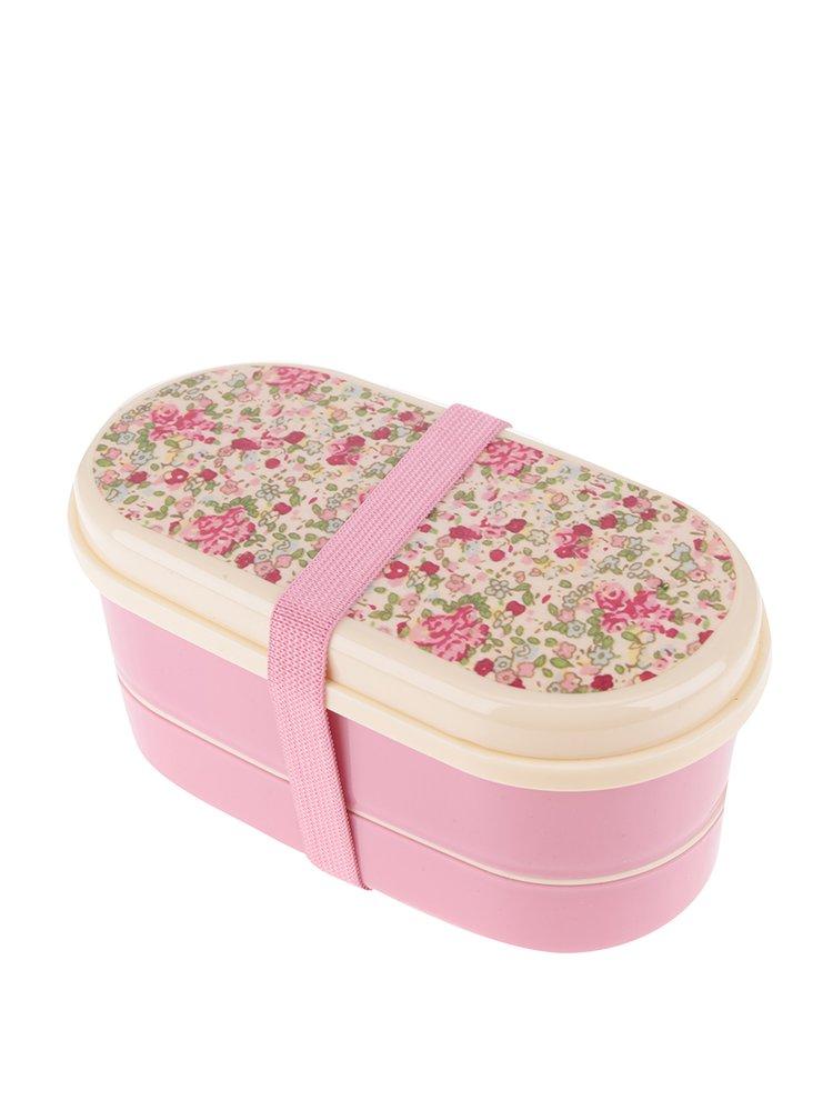 Růžový květovaný box na jídlo Sass & Belle Bento