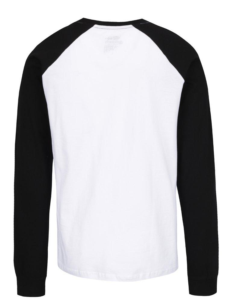 Bluză negru & alb MEATFLY Rikker din bumbac cu print pentru bărbați