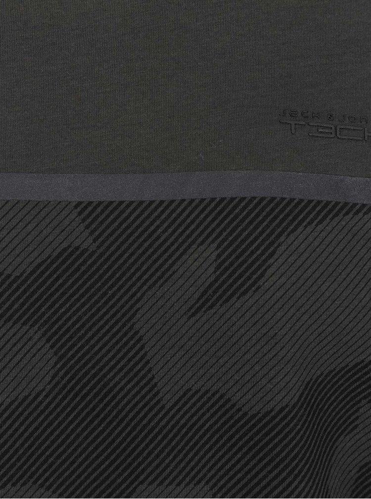 Tricou gri inchis Jack & Jones Camo cu imprimeu camuflaj