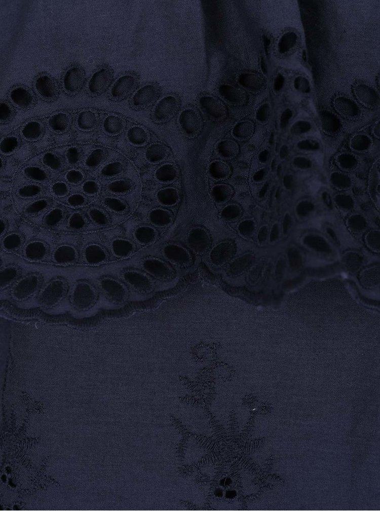 Modrá halenka z madeiry s odhalenými rameny VILA Emilia