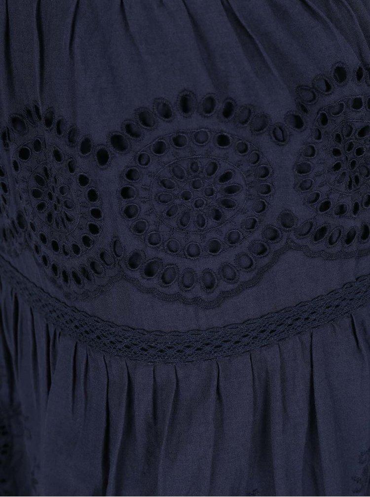 Fustă bleumarin VILA Emilia cu model perforat