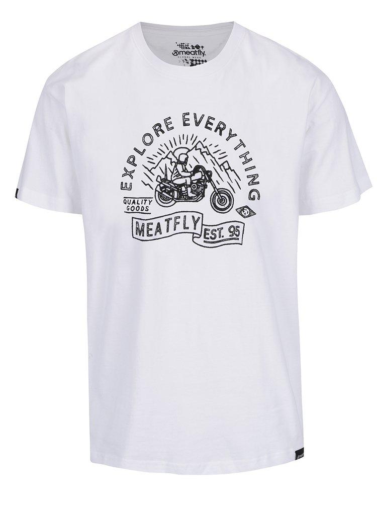 Bílé pánské triko s potiskem MEATFLY Trip