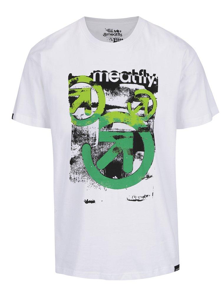 Tricou alb cu print MEATFLY Pulse pentru bărbați