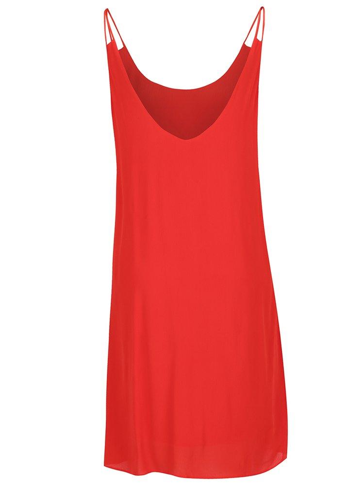 Červené volné šaty s tenkými ramínky VILA Loha