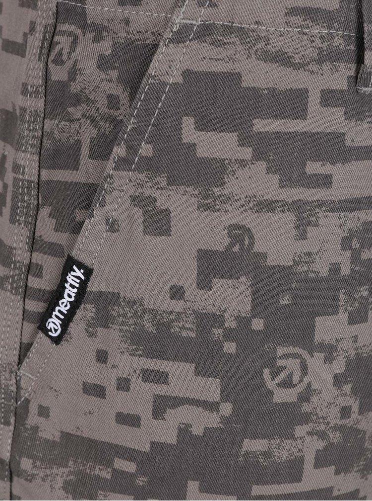 Pantaloni scurți bej MEATFLY Icon din bumbac cu model
