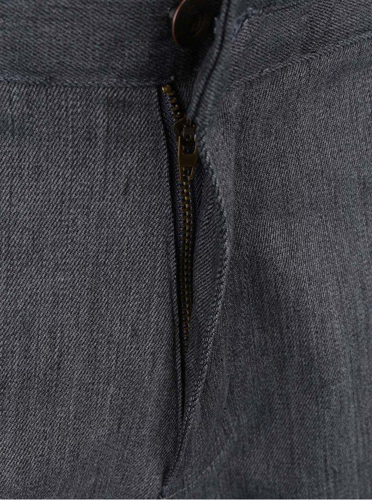 Tmavě šedé žíhané pánské kraťasy MEATFLY Bobber