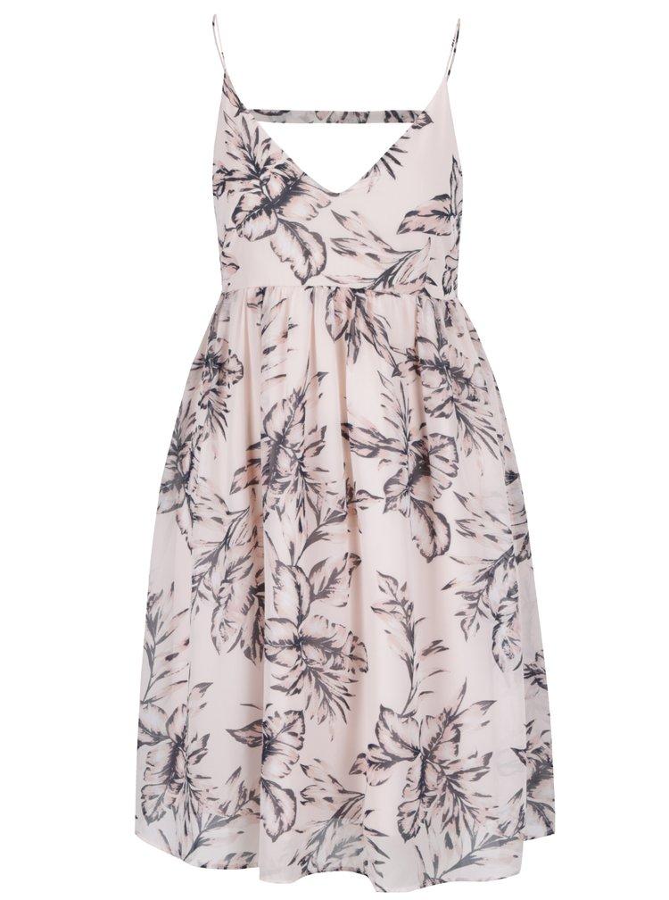 Světle růžové květované šaty s výstřihem na zádech VILA Gola