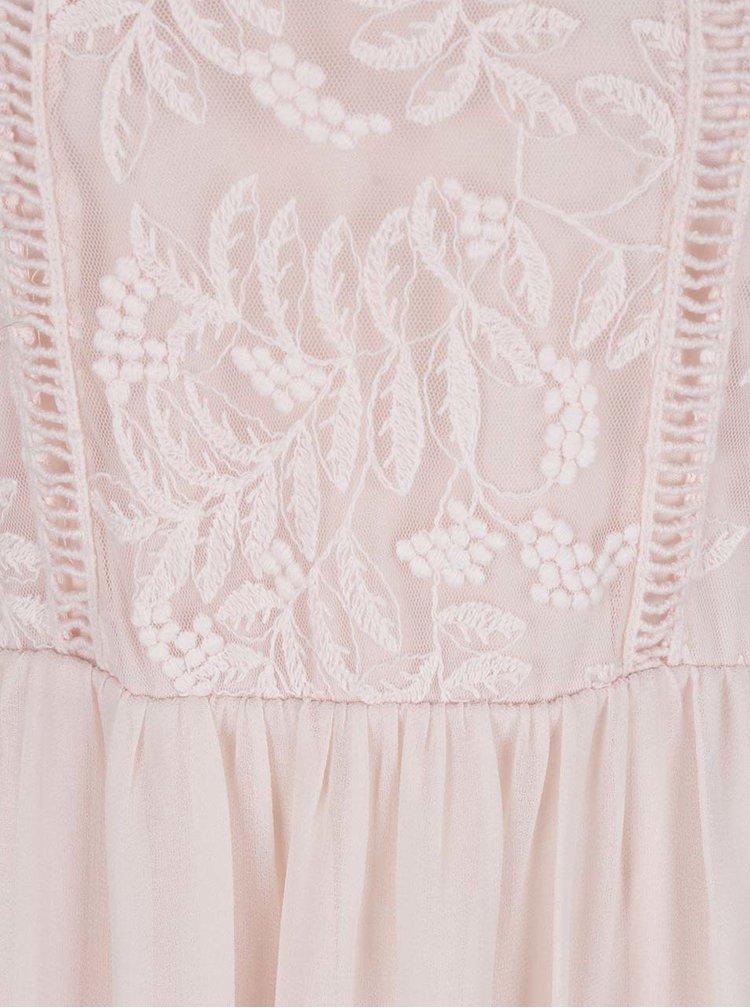 Rochie roz deschis VILA Flidax cu detalii din dantelă