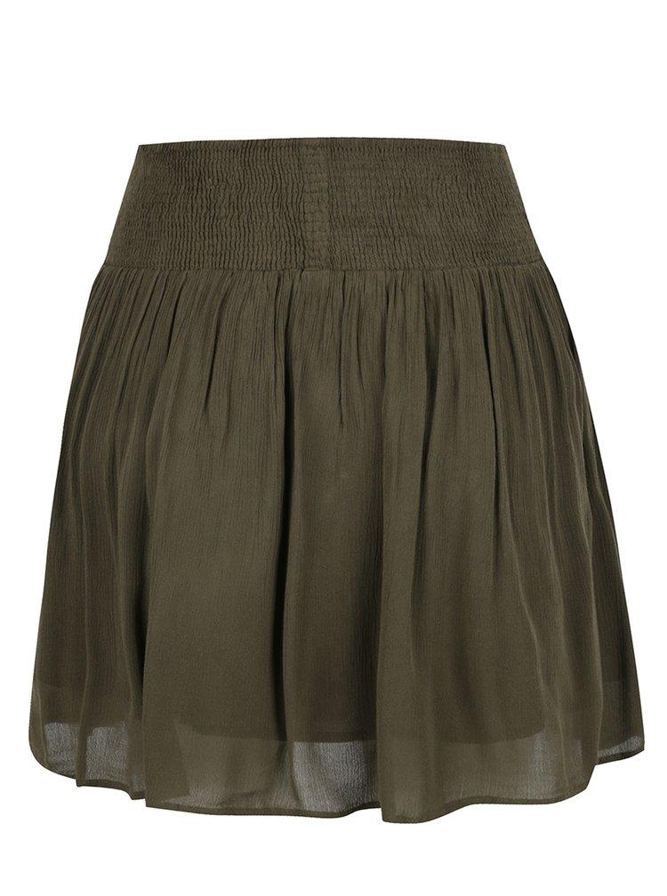 Khaki sukně se šněrováním a pružným pasem VILA South