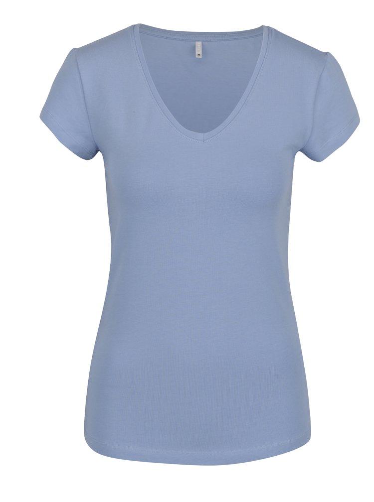 Tricou albastru deschis ONLY Live Love cu decolteu en coeur