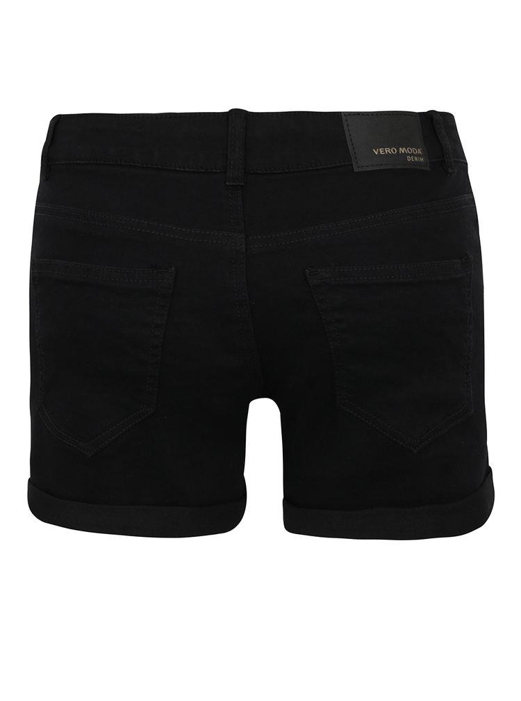 Pantaloni scurti negri VERO MODA Be Five din denim