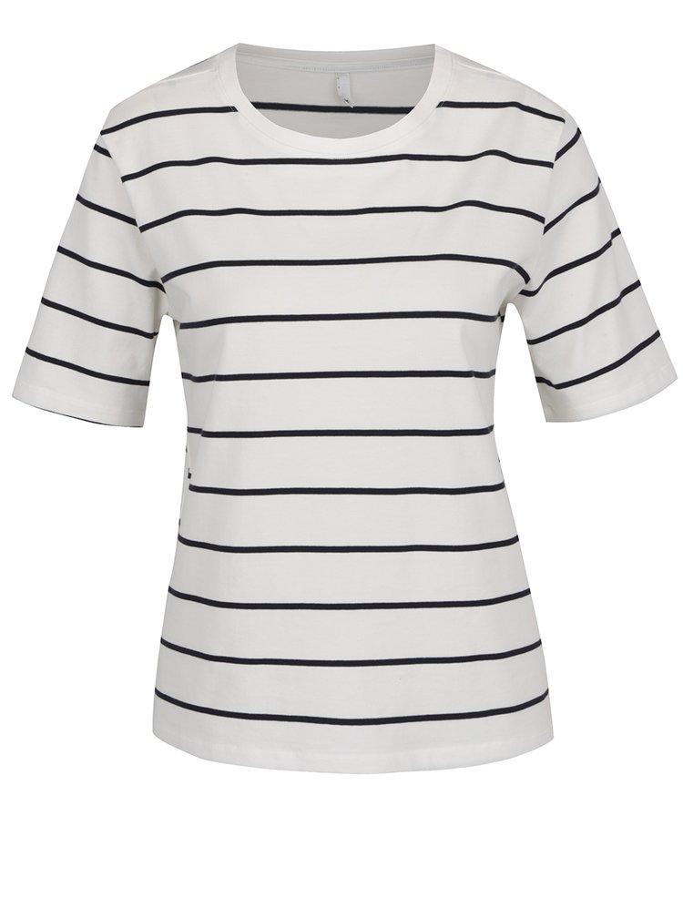 Bílé pruhované tričko s krátký rukávem ONLY Live Love