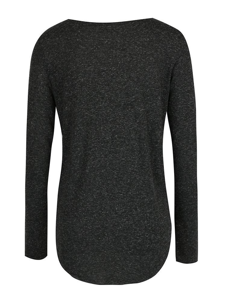 Čierne melírované tričko s dlhým rukávom VERO MODA Lua