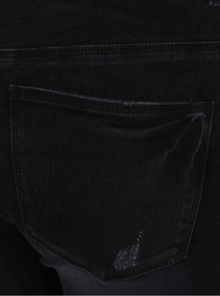 Černé džínové kraťasy s vysokým pasem ONLY Pearl