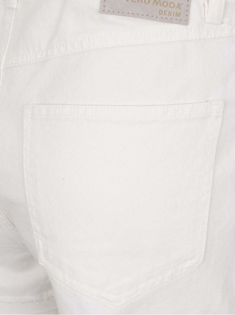 Krémové džínové kraťasy s vysokým pasem VERO MODA Be Nineteen