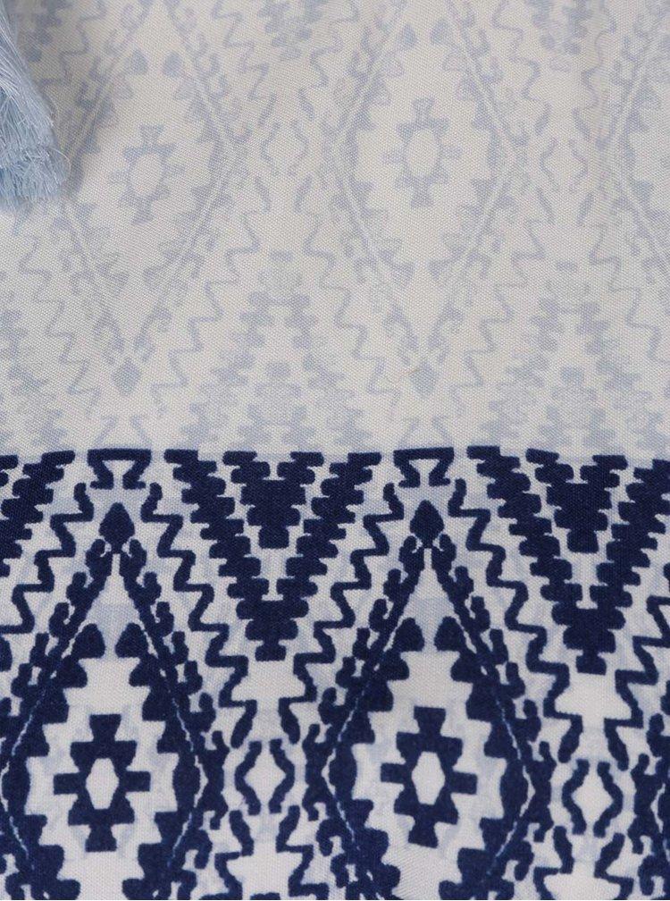 Krémovo-modré vzorované maxišaty VERO MODA Jasmine
