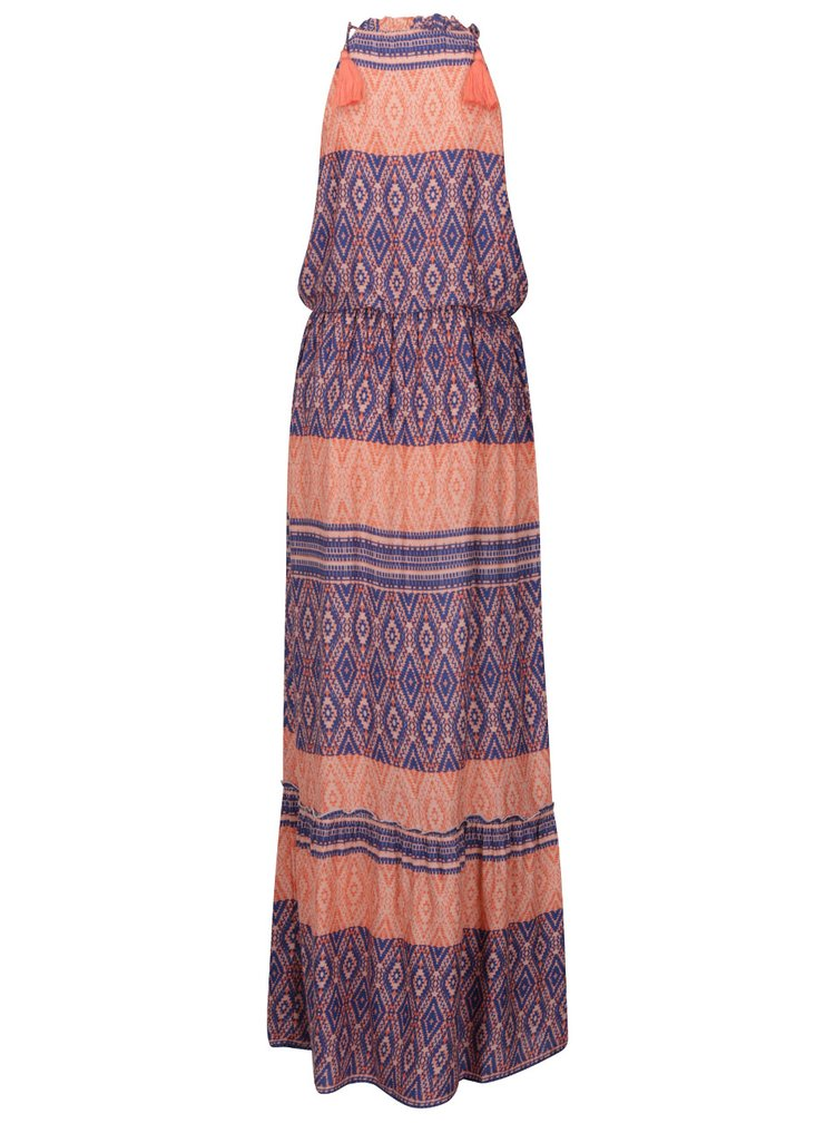 Rochie albastru&portocaliu VERO MODA Jasmine cu talie elastica