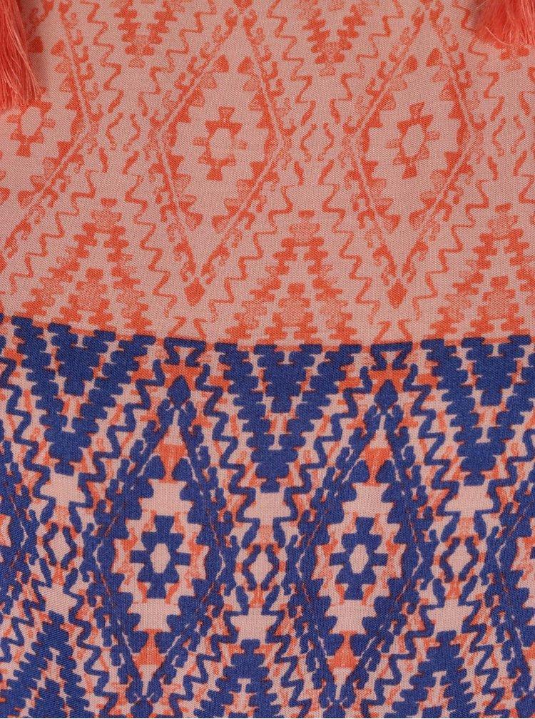Modro-oranžové vzorované maxišaty VERO MODA Jasmine