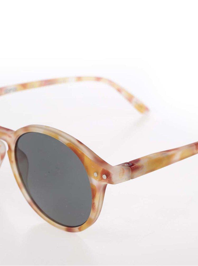Žluto-hnědé vzorované unisex sluneční brýle s černými skly IZIPIZI  #D