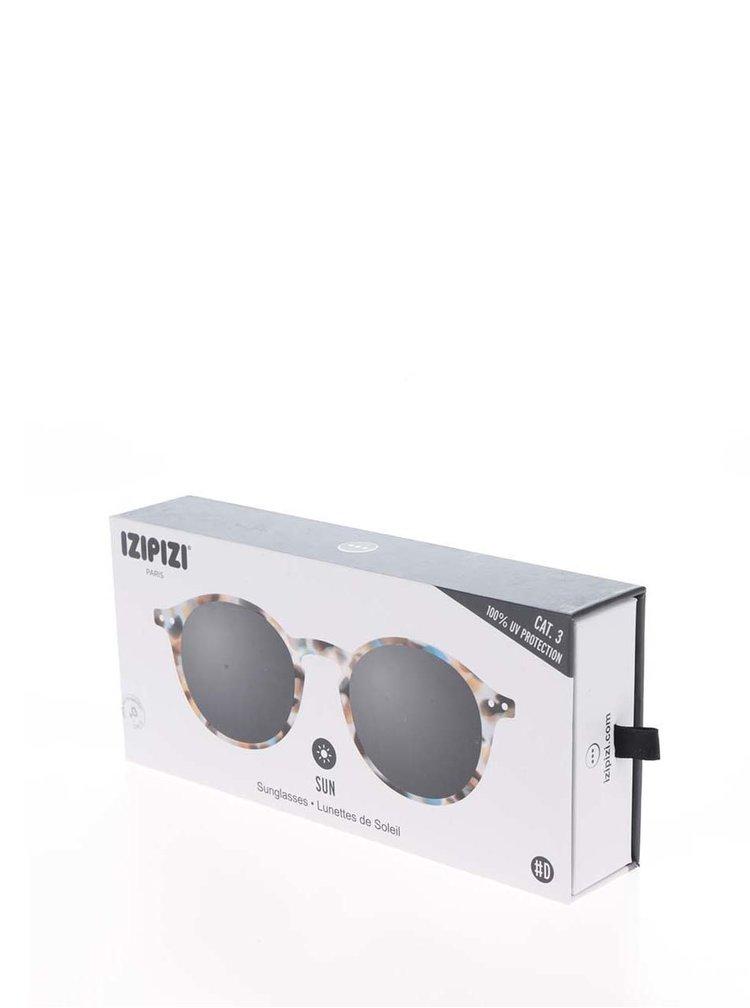 Hnědo-modré vzorované sluneční brýle s černými skly IZIPIZI  #D