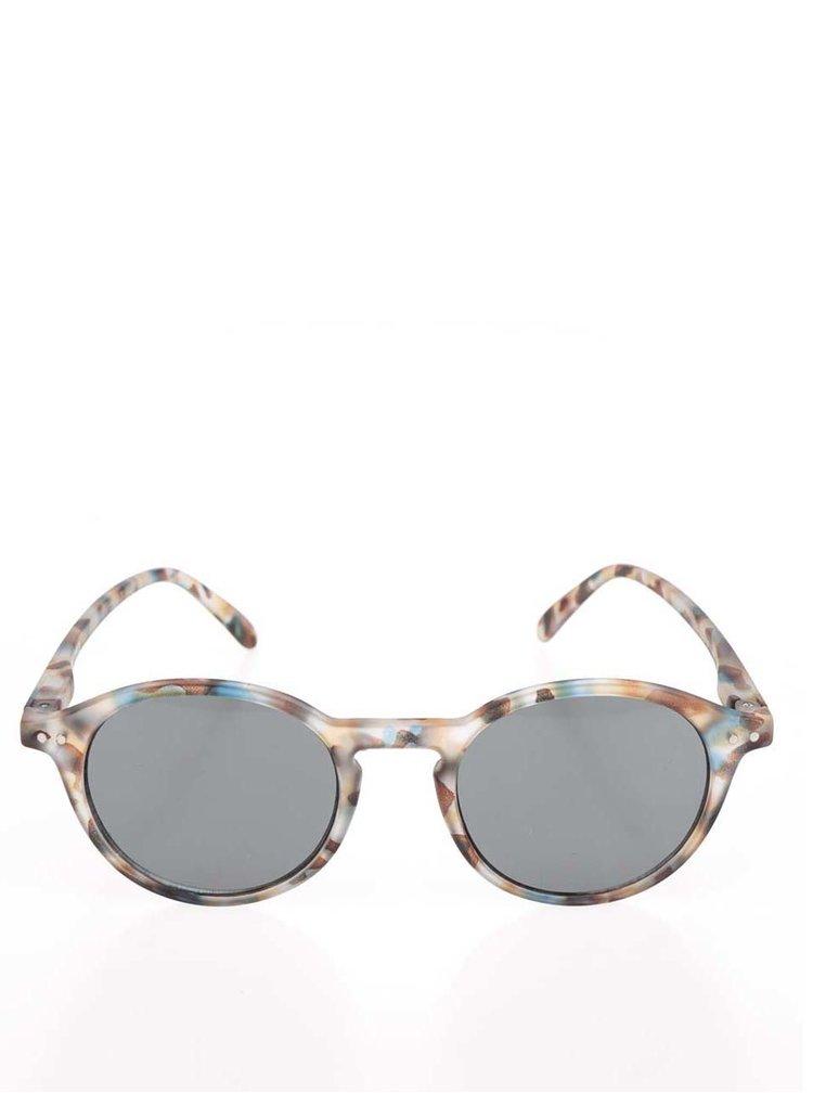 Hnedé vzorované unisex slnečné okuliare s čiernymi sklami IZIPIZI #D